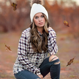 Fall by Carole Brown - People Portraits of Women ( ripped jeans, fuzzy hat, ombre hair, blue eyes, plaid shirt )