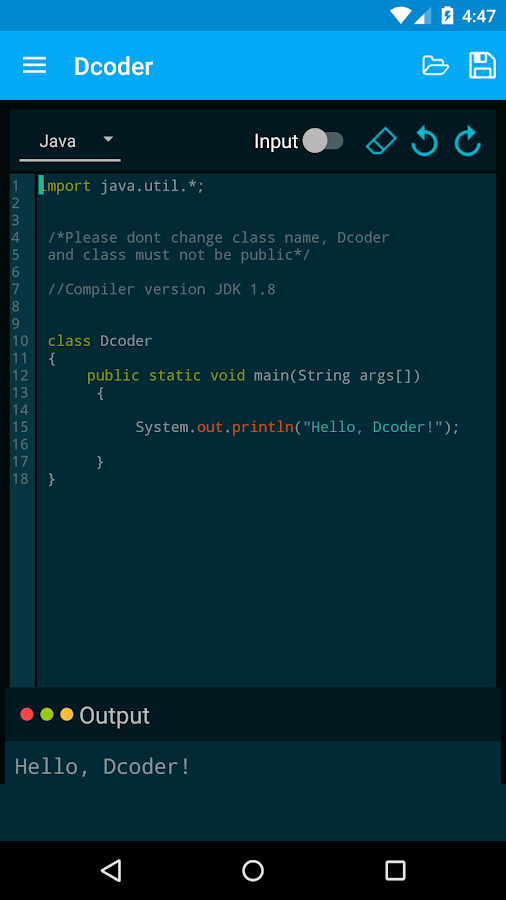 Dcoder, Mobile Compiler IDE Screenshot 3
