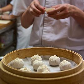 Dumplings by Kristin Cosgrove - Novices Only Portraits & People ( taiwanese food, hands, food, dumplings, restaurant )