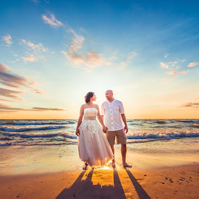 The Golden Hour! by David Barone-Vu - Wedding Bride & Groom ( love, wow, wedding photography, forever, wedding, sunset, bride and groom, beach, goldenhour )