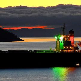 Crimson Ace Dawn, Salish Sea.  by Campbell McCubbin - Transportation Boats ( sunrise, bulk carrier, freighter, ship, dawn, salish sea )
