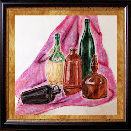 Variety of Bottles (Chalk Pastels) by Ingrid Anderson-Riley - Drawing All Drawing
