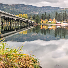 The Bride to Post Falls, ID by Michelle Cox - Buildings & Architecture Bridges & Suspended Structures ( reflection, fall colors, bridge )