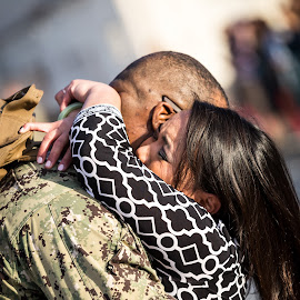 I'm home... by Ron Williams - People Couples ( love, hugs, wife, spouse, cammo, husband, military, kisses )