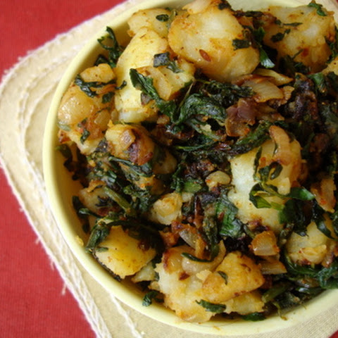 Aloo Methi ~ Potato Fenugreek leaves stir fry