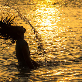 golden hour... by Kiran Ark - People Street & Candids ( water, drops, sea, people, portrait )