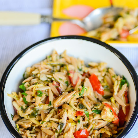 Orzo Garden Vegetable Pilaf With Lemon and Herbs