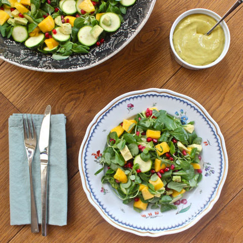 Mango, Avocado and Pomegranate Salad with the BEST Mango Chilli Dressing