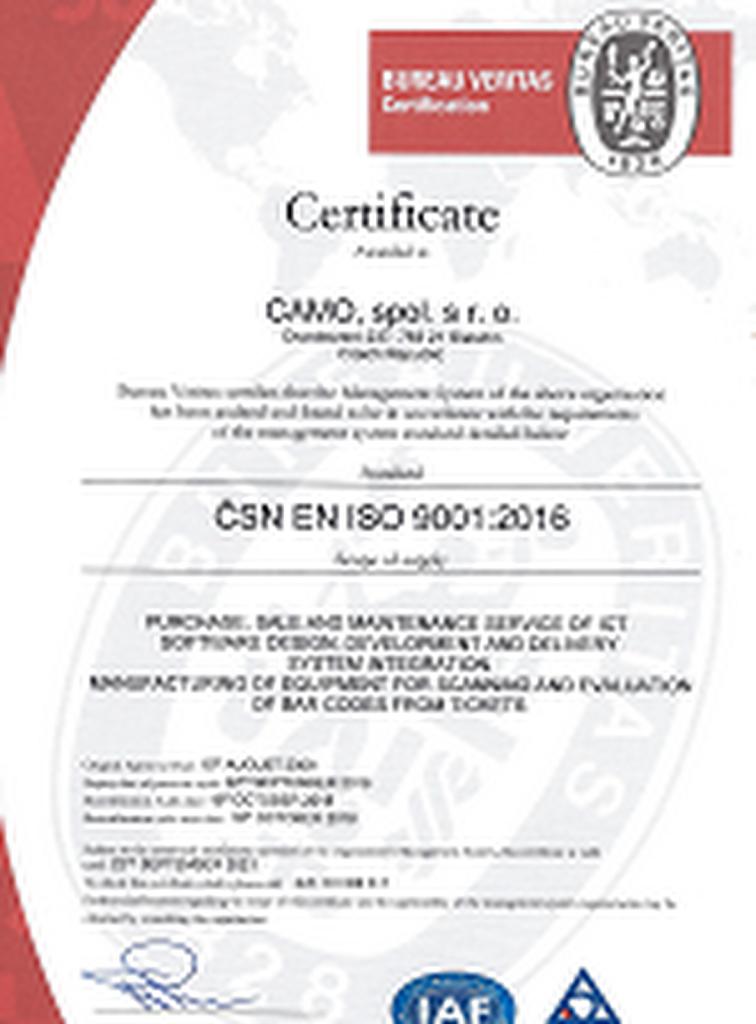Certifikát ČSN ISO 9001:2016 udělený Bureau Veritas společnosti Camo