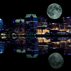 Moon Over Halifax by Shaun White - City,  Street & Park  Skylines ( water, reflection, skyline, moon, nova scotia, canada, waterscape, halifax, bedford, extended exposure, landscape, boardwalk, lights, fall river, full moon, night, evening, sackville )