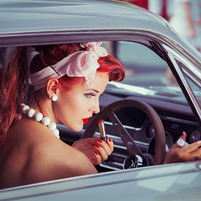 Pin-up girl by Gregor Grega - People Portraits of Women ( car, model, vintage, beautiful, red lips, retro, lipstick, beauty, cute, pin up, sexy, girl, red hair, woman, red nails, necklace, earrings,  )