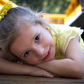 Waiting For Mom by April Sadler - Babies & Children Child Portraits ( #child #head shot #dock #smile #happy #park, , KidsOfSummer )