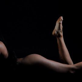 Prone in the Dark by DJ Cockburn - Nudes & Boudoir Artistic Nude ( implied nude, lying, izabela, horizontal, woman, concealed nude, brunette, prone )