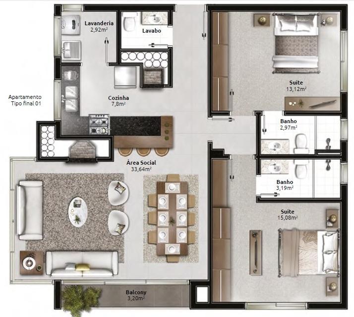 Apartamento com 2 dormitórios, sendo 2 suítes, living 2 ambientes, sacada, churrasqueira, cozinha, lavanderia, lavabo e 2 vagas de garagem com depósito. 2 apartamentos por andar, salão de festas com espaço gourmet. Contate hoje mesmo um de nosso consultores.