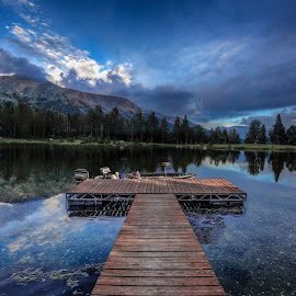 relax by Casey Mitchell - Landscapes Mountains & Hills ( clouds, mountain, sunset, lake, pond )