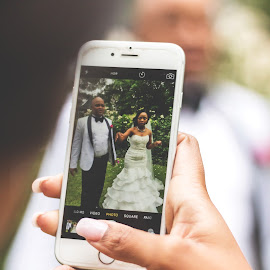 Changing perspective by Phillip Prinsloo - Wedding Bride & Groom ( phone, wedding, mobile phone, photographer, wedding photographer, bride, groom )