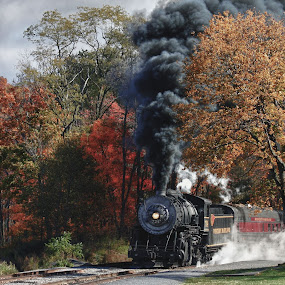 Mountain Thunder in Fall by Vicki Pardoe - Transportation Trains