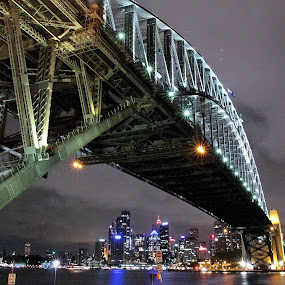 Sydney's Harbour Bridge by Ajay Sharma - Buildings & Architecture Bridges & Suspended Structures ( lights, harbour, nsw, night, bridge, sydney )