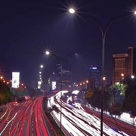 batanggang by Just Arief - City,  Street & Park  Night ( night photography, street, rail, jakarta, night, light )