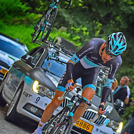 Like A Leopard by Marco Bertamé - Sports & Fitness Cycling ( uphill, rider, 2015, cycling, alone, tour de luxembourg, luxembourg )