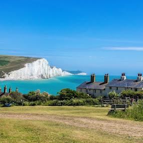 Seven Sisters by Alexandre Rios - Landscapes Prairies, Meadows & Fields ( sky, england, white cliffs, countryside, house, outdoor, picoftheday, bestoftheday, field, daylight, uk, beach, seven sisters, landmark, travel, landscape, photography )