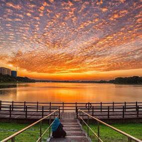 Fiery Skyline by Lb Chong Jacobs - City,  Street & Park  Skylines ( clouds, reflection, fiery, skyline, park, colorful, sunset, landscape )