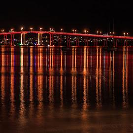 Tasman Bridge for Dark Mofo by Leoni Williams - City,  Street & Park  Night ( red bridge, lights, waterscape, cityscape, bridges )