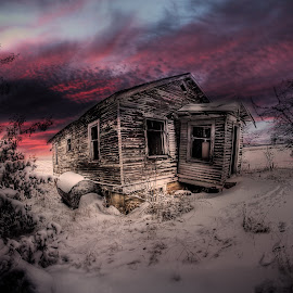 Snowy Sunset by Eric Demattos - Buildings & Architecture Decaying & Abandoned ( winter, sunset, eric demattos, snow, decay, abandoned )