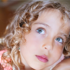 Daydreaming by Liz Straight - Babies & Children Child Portraits ( canon, child, girl, california, beautiful, curls, child portrait, portrait, eyes )