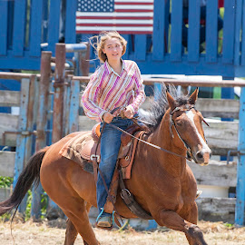 by Kevin Esterline - People Street & Candids ( horse, flag, rodeo, girl, ride )