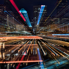 Entering St. Paul at Warp Speed by Peter Stratmoen - Abstract Light Painting ( abstract, minnesota, night photography, 70-200, zoom, nikon, st. paul )