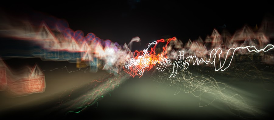 Traffic light painting 15 by Hirian Raul - Abstract Light Painting ( exposure, ray, red, trace, night, long, painting, light )
