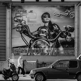 It Is Nicer On Two Wheels by Nenad Borojevic Foto - City,  Street & Park  Street Scenes ( woman, bilboard, car,  )