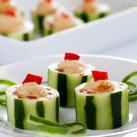 Hummus Filled Cucumber Cups