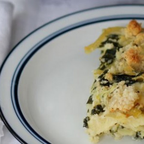 Spinach, Leek and Goat Cheese Kugel