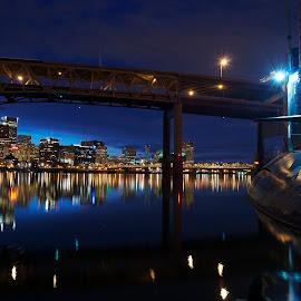 USS Blueback, Portland OR by Glenn Roesener - City,  Street & Park  Historic Districts ( portland, omsi, night, submarine, river )