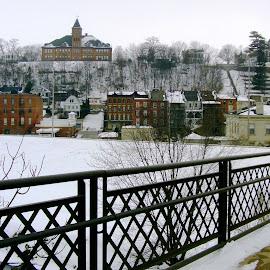 Galena Vista in Winter by Kathy Rose Willis - City,  Street & Park  Vistas ( galena, winter, illinois, vista, snow )