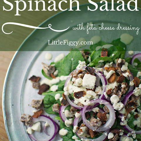 Spinach Salad with Feta Dressing