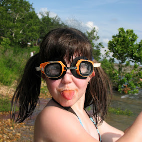 haha I got the goggles! by Tess Girdner - Babies & Children Children Candids ( lake. oklahoma, swimming )