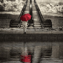 Stairway to Heaven by Katherine Rynor - Digital Art People ( clouds, reflection, red, escalators, umbrella, sea, man )