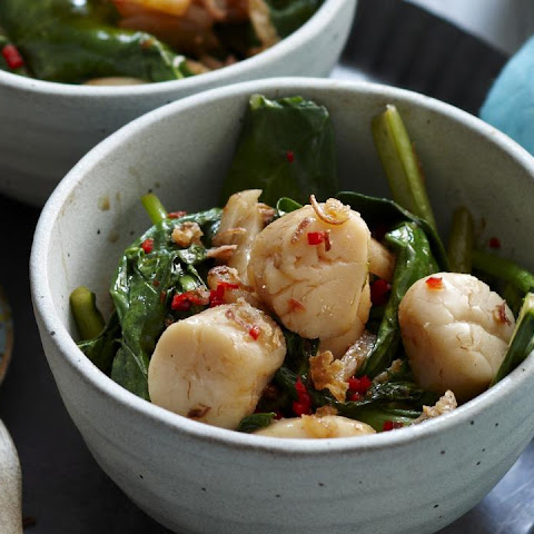 Scallops in XO Sauce with Chinese Kale and Pak Choi