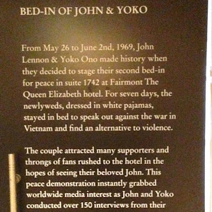 1969Bed-In of John & YokoFrom May 26 to June 2nd, 1969, John Lennon & Yoko Ono made history when they decided to stage their second bed-in for peace in suite 1742 at Fairmont The Queen Elizabeth ...