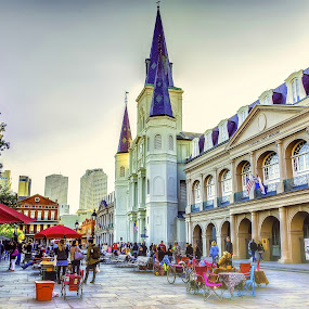 Nostalgic Holy I by Shaun Poston - City,  Street & Park  Street Scenes ( shaun poston, new orleans, louisiana, french quarter, jackson square, st louis cathedral )