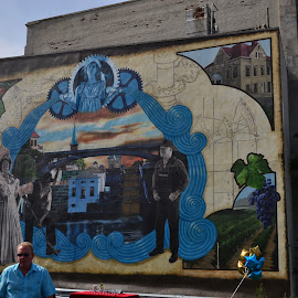 Mural on Main street by Thomas Fitzrandolph - City,  Street & Park  Street Scenes ( erie canal, cities, art, niagara county ny, murals, nikon d5200, paintings, lockport ny )