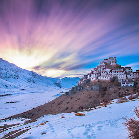 Key Monastery by Dhritiman Lahiri - Landscapes Travel ( hills, himalaya, travel, valley, landscape, mountains, blue sky, snow, india, bluesky, manali, long exposure, photo-tours, clouds, medows, dhritimanlahiri, cloudscape, photography workshops, seascape, himachal, natgeo, canon 10-22, landscape photography, photography tours, jammu, longexposure, travel photography, peaks )