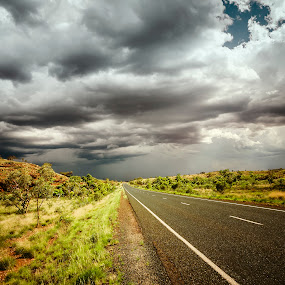 road bad weather by Markus Gann - Landscapes Weather ( freedom, travel, transportation, long, storm, race, open, danger, sky, nature, shadow, drive, empty, dark, weather, motion, black, moving, horizon, tourism, bad, holiday, environment, australia, outdoors, auto, hot, shower, fast, car, highway, land, way, road, landscape, sun, escape, clear, transport, sunny, rain, sand, dry, desert, thunderstorm, speed, gray, red, outdoor, cloud )