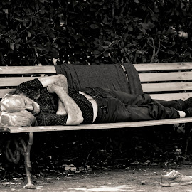 Homeless by Daniel Gaudin - City,  Street & Park  Street Scenes ( black and white, homeless, people, photography, street photography )