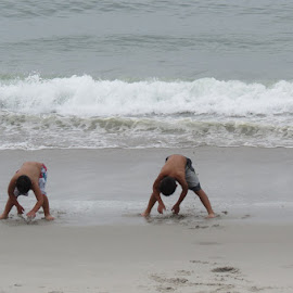 Brothers by Rita Goebert - Babies & Children Children Candids ( boys; beach play; monterey bay; california; waves )