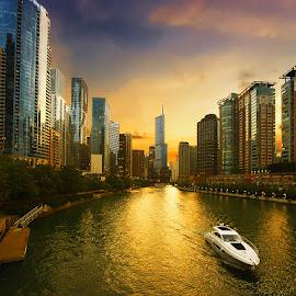Evening Cruise by Jon Kinney - City,  Street & Park  Vistas ( boating, sunset, cityscape, chicago, rivers )