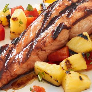 Honey-Glazed Salmon with Grilled-Pineapple Salsa